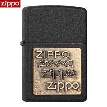 ZIPPO打火机黑裂漆362四代铜徽章