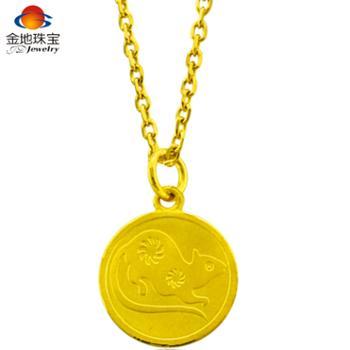 金地珠宝足金十二生肖圆吊坠单枚黄金吊坠