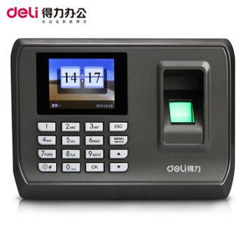 得力3948指纹式考勤机彩屏语音打卡机指纹识别免安装签到机