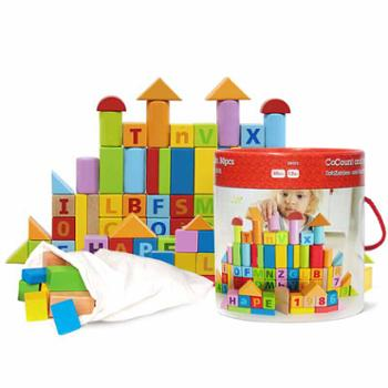 Hape60粒积木宝宝拼装玩具益智宝宝1-2周岁可啃咬