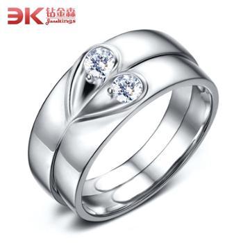 钻金森925纯银爱心情侣戒指对戒