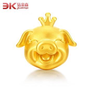 钻金森足金3D硬金黄金猪转运珠手链本命年宝宝十二生肖