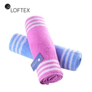 亚光LOFTEX纯棉柔软吸水条纹成人通用运动巾加大加厚面巾单条装30*110cm/150g