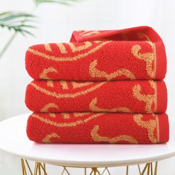 亚光/LOFTEX毛巾红色喜庆纯棉婚庆洗脸毛巾柔软吸水两条装纯棉红色