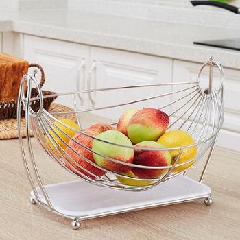 创意水果篮客厅果盘沥水篮水果收纳篮摇摆不锈钢糖果盘子现代简约