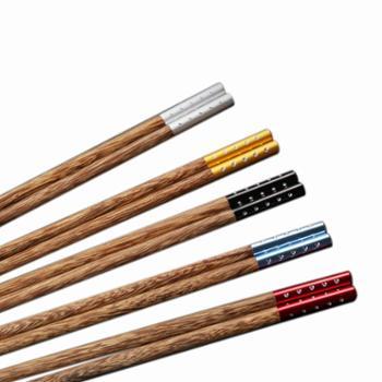 高档纯天然鸡翅木筷子家用实木红木10双一人一色区分家庭装个性快