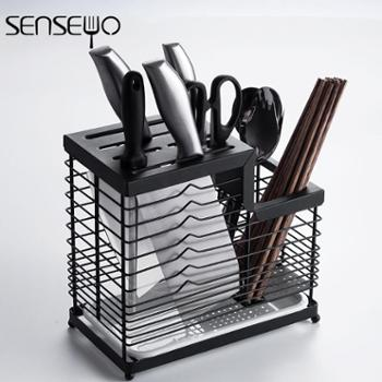 家用304不锈钢刀架 厨房菜刀架置物架插刀座盒放刀具收纳架沥水盘