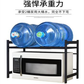 伸缩厨房置物架微波炉架烤箱架子落地式家用2层电饭煲储物收纳架