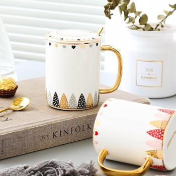 ins创意陶瓷马克杯情侣对杯简约金水杯茶杯咖啡杯女办公杯子带盖