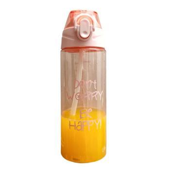 韩版运动清新便携塑料吸管杯子学生男女防摔大容量简约随手杯水杯