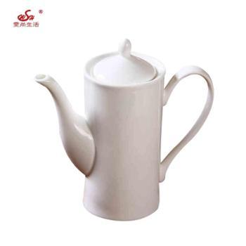 纯白唐山骨瓷陶瓷大容量澳式茶壶陶瓷咖啡壶咖啡杯糖缸奶缸速溶