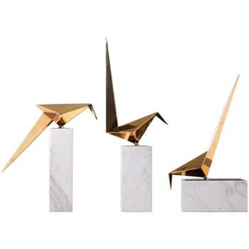 现代简约北欧酒店软装大理石金属摆件几何客厅电视柜小鸟工艺品