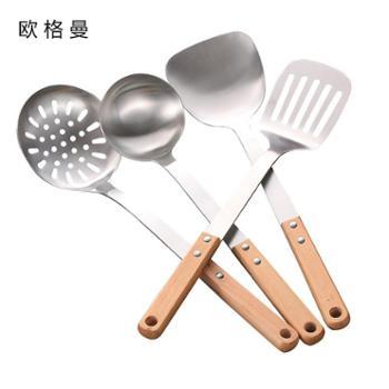 不锈钢厨具锅铲套装三件套炊具木柄厨房用品铲子汤勺子全套家用