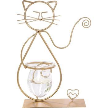 ins北欧铁艺猫咪水培玻璃花瓶摆件装饰品少女心房间桌面插花摆设