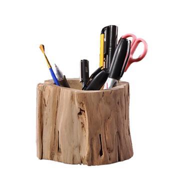 异丽复古实木笔筒创意原木手工雕刻工艺品办公室书房木质笔筒原木