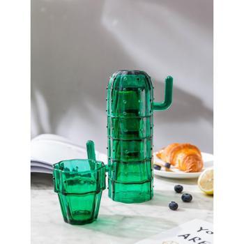摩登主妇仙人掌绿植杯子套装INS风家用玻璃水杯简约茶杯6只装