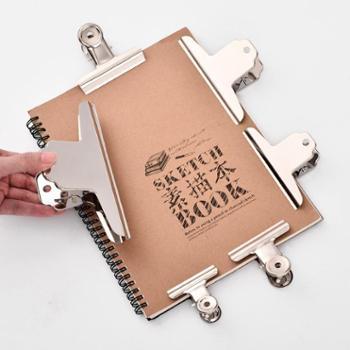 文件夹子文具小夹子家用铁夹子固定不锈钢票夹强力票据夹圆形夹子本多功能办公素描画板夹子特大号美术山型夹