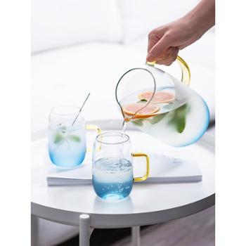 舍里简约风高硼硅玻璃冷水壶耐热防爆开水壶家用凉水壶果汁饮料壶