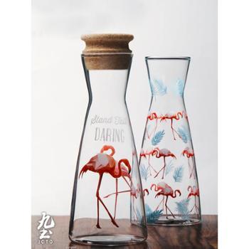 玻璃分享壶凉水壶带盖ins火烈鸟时尚冷饮果汁咖啡壶家用小开水壶
