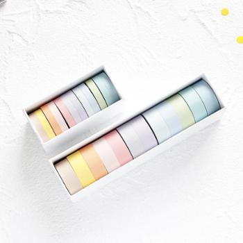 基础款纯色胶带纸彩色套装手帐diy装饰12色组合易撕和纸胶带 12卷