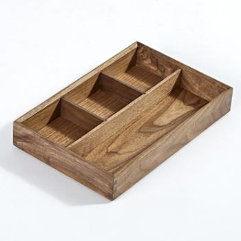 喜起黑胡桃实木办公桌面收纳盒 木质分格收纳架 杂物整理盒文具盒