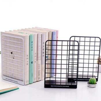 4片/2片简易网格高中生桌上夹书器桌面课桌收纳放简约时尚插书架子书夹板个性网状