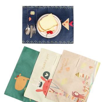 日式棉麻儿童餐垫一年级小学生可折叠防水北欧家用餐桌布艺隔热垫