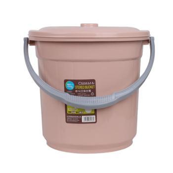 美翔 塑料家用大号加厚手提带盖圆提水桶