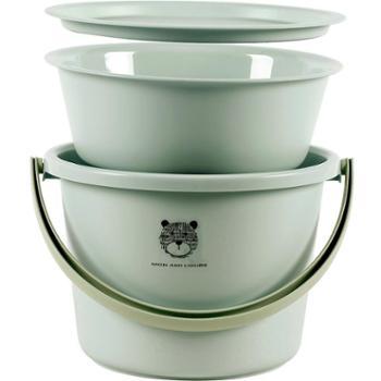 优思居 宿舍桶盆套装 家用手提储水用水桶