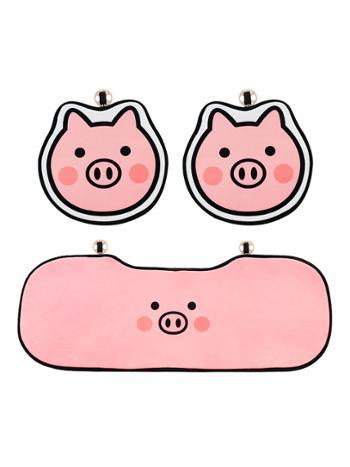 轩派 汽车坐垫四季通用单个屁屁垫粉小猪冬季毛绒保暖