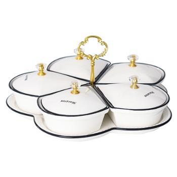 福耐康 简约水果盘陶瓷欧式分格果盘