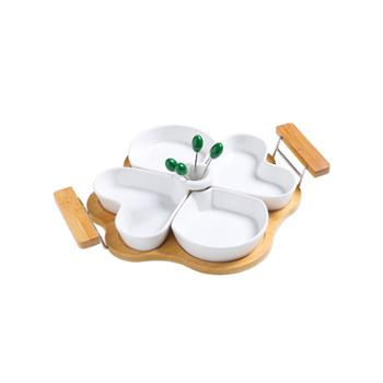 十宿 水果盘陶瓷分隔式干果盘中式