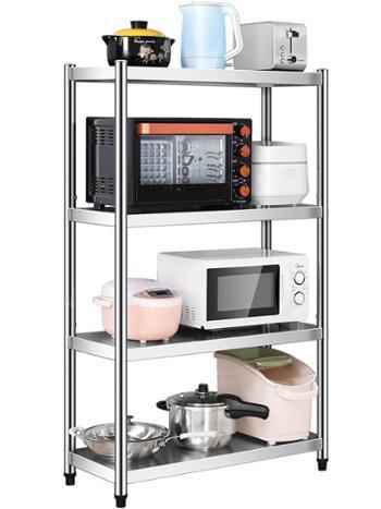 卡玫莱不锈钢厨房置物架加厚加高4层长90宽40高150