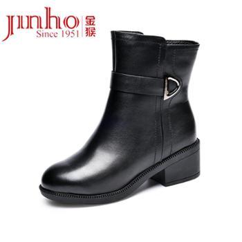 金猴冬季女棉鞋加绒加厚羊毛骑士靴中跟裸靴短靴女鞋SQ40008A
