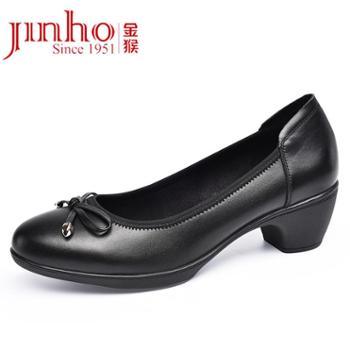 金猴(JINHOU)低跟休闲浅口舒适真皮套脚女单鞋Q50019