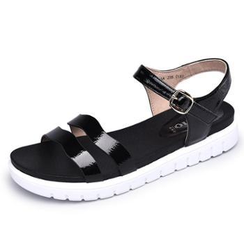 金猴平底轻便沙滩鞋休闲舒适一字扣露趾女凉鞋Q60014