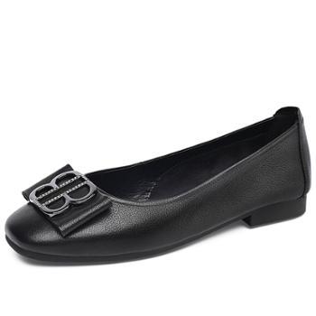 金猴春新款牛皮休闲低跟软底女士皮鞋特大码浅口透气舒适女单鞋Q50033A