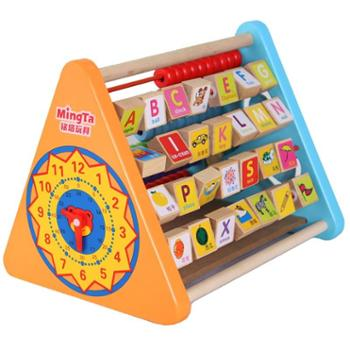 铭塔五合一翻板儿童智力开发英文拼音早教算术宝宝积木益智玩具