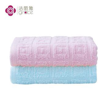 洁丽雅6415素雅全棉毛巾(红色X1+蓝色X1)