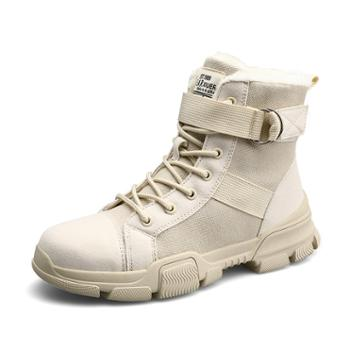 冬季时尚加绒保暖女靴帆布马丁靴百搭圆头厚底女棉鞋高帮女雪地靴 qjm913
