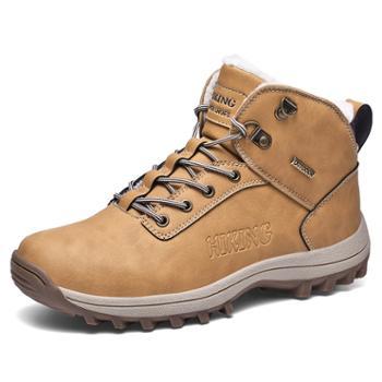秋冬高帮户外男鞋加绒加毛保暖雪地靴登山鞋 WKG15