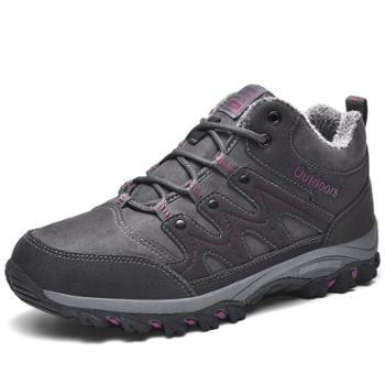 冬季大码中帮男女登山鞋加绒保暖户外棉鞋防滑徒步鞋男鞋爬山鞋 WKG13