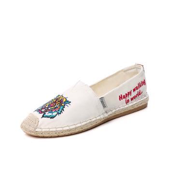 夏季女帆布鞋 韩版潮低帮平底休闲女单鞋 WKA50