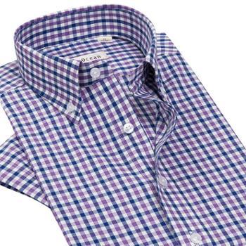 夏季格子衬衫男短袖寸衫纯棉免烫修身韩版潮流帅气男士衬衣青年