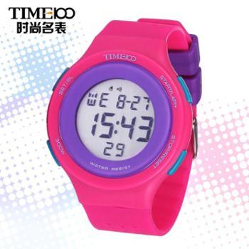 炫彩时尚果冻手表学生手表硅胶表带防水电子表户外运动表学生手表W40109M