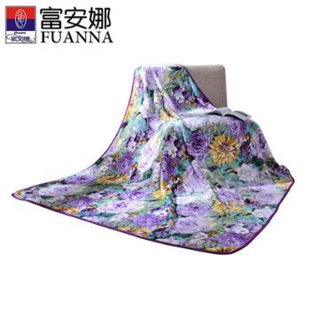 富安娜家纺加大1.8m舒柔毯双色可选繁华似锦180*200cm