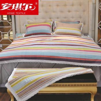 安琪尔家纺 床上用品 手工老粗布三件套 凉席三件套 四季用品 花色随机发货