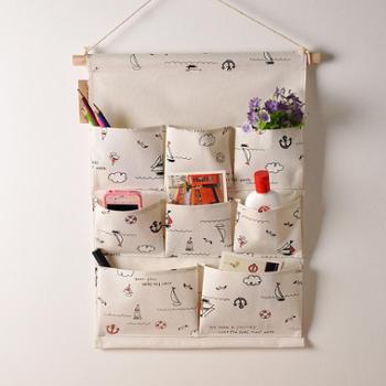 慢生活 收纳挂袋多层墙上门后挂带棉麻布艺壁挂置物袋 款式随机