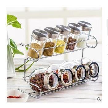人泰家居厨房用品玻璃调味罐调味盒套装 调料罐调味瓶送置物架9个罐子