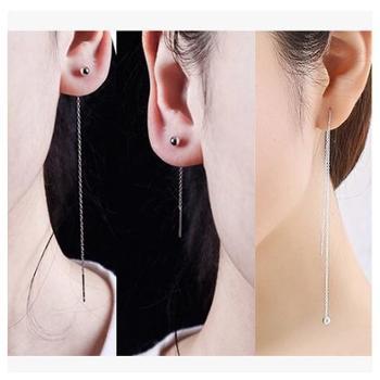 纯银耳钉豆豆纯银耳线女流苏超长款耳环 韩国气质个性百搭耳饰